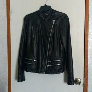 A.n.a. black leather jacket with pockets